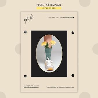 Plantilla de póster vertical para influencer de moda en redes sociales