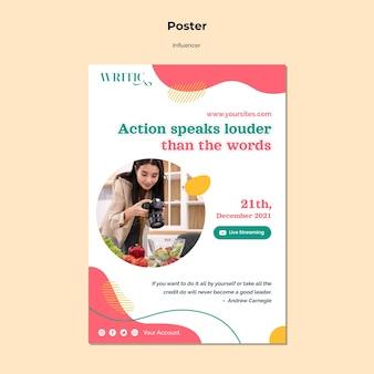 Plantilla de póster vertical para influencer de redes sociales