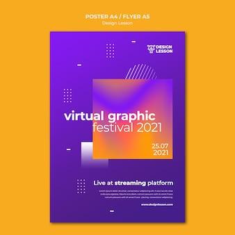 Plantilla de póster vertical para lecciones de diseño gráfico