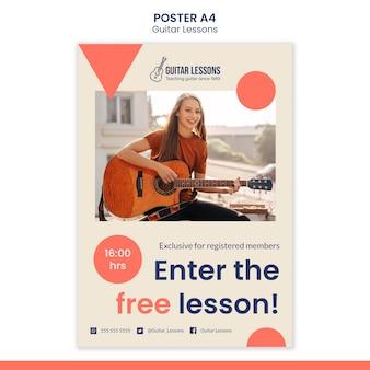 Plantilla de póster vertical para lecciones de guitarra