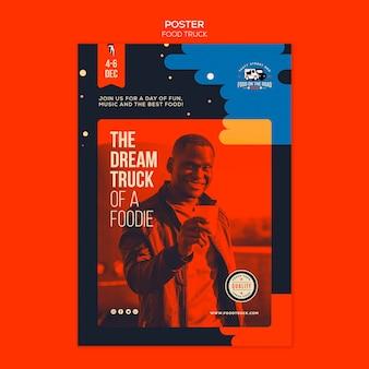Plantilla de póster vertical para el negocio de camiones de comida