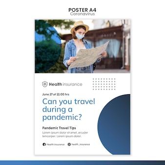 Plantilla de póster vertical para la pandemia de coronavirus con máscara médica