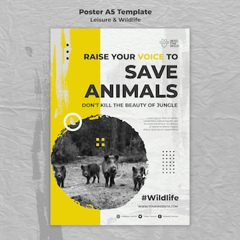 Plantilla de póster vertical para la protección de la vida silvestre y el medio ambiente