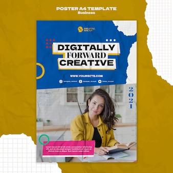 Plantilla de póster vertical para soluciones empresariales creativas