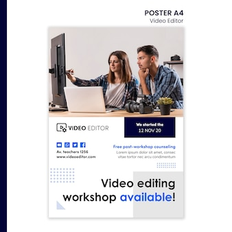 Plantilla de póster vertical para taller de edición de video.