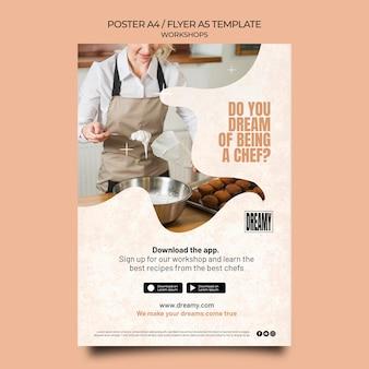 Plantilla de póster vertical para talleres y clases de profesión.