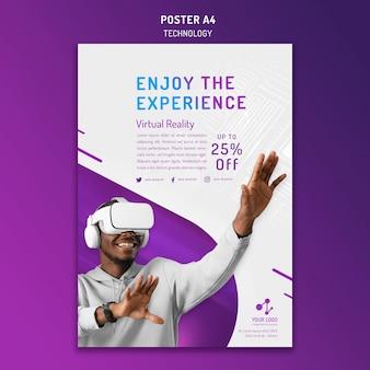 Plantilla de póster vertical para tecnología moderna con casco de realidad virtual
