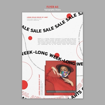 Plantilla de póster vertical para las tendencias de la moda con mujer con mascarilla