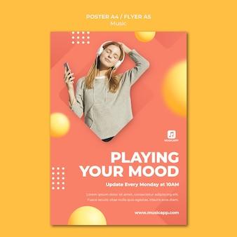 Plantilla de póster vertical para transmitir música en línea con una mujer con auriculares