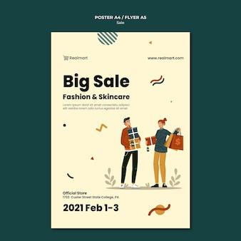 Plantilla de póster vertical en venta con personas y bolsas de compras.