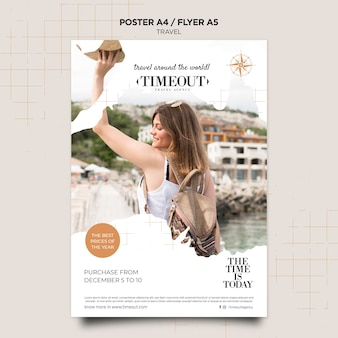 Plantilla de póster de viajes alrededor del mundo