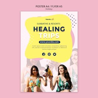 Plantilla de póster de viajes curativos