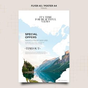 Plantilla de póster de viajes de súper ofertas