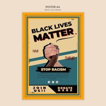 Plantilla de póster para vidas negras importa