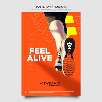 Plantilla de póster de zapatillas para correr
