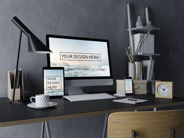 Plantilla premium de diseño de escritorio, tableta y teléfono inteligente con pantalla editable en un elegante interior negro