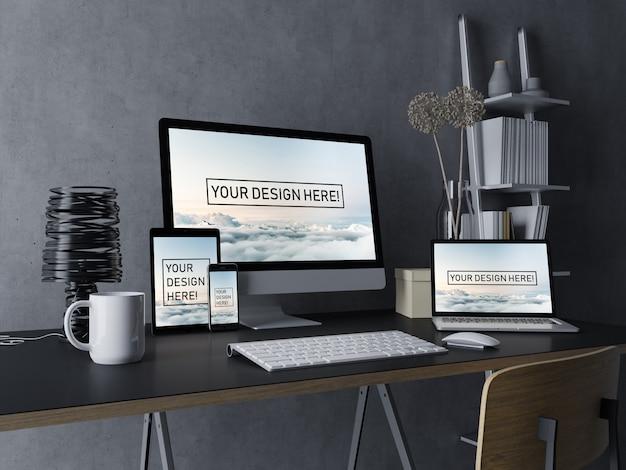 Plantilla premium de diseño de maqueta de escritorio, computadora portátil, tableta y teléfono móvil con pantalla editable en el moderno espacio de trabajo interior en negro