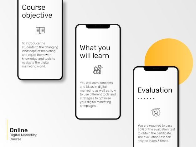 Plantilla de presentación de marketing digital con maqueta de pantalla móvil