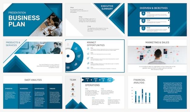 Plantilla de presentación de negocios editable psd en conjunto de diseño moderno