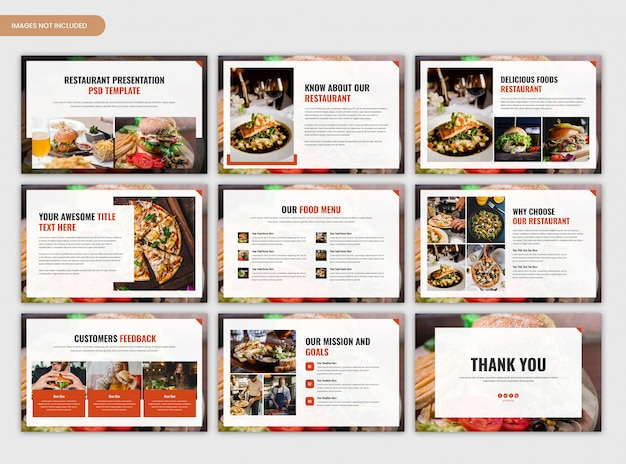 Plantilla de presentación de resumen de restaurante y comida mínima