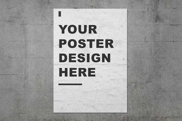 Plantilla de presentaciones de maqueta de póster en muro de hormigón de grunge