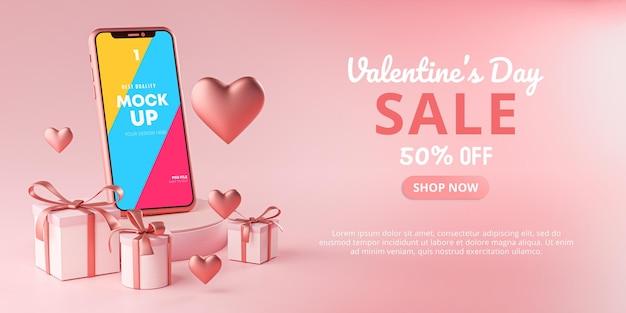 Plantilla de promoción de banner de venta de san valentín de maqueta de teléfono inteligente