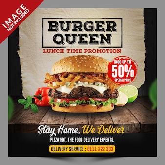Plantilla de promoción de redes sociales de hamburguesas