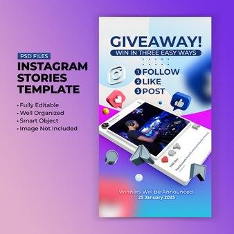 Plantilla de promoción de sorteo para publicación en redes sociales