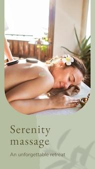Plantilla psd de bienestar de masaje de serenidad con fondo de piedras calientes