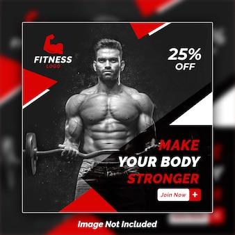 Plantilla de psd de diseño de banner de instagram de fitness