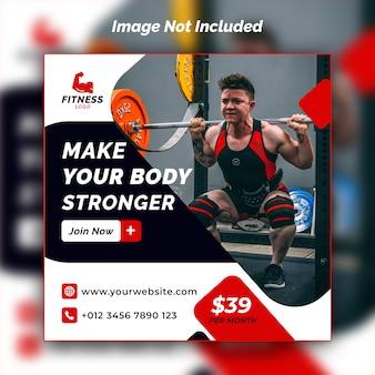 Plantilla de psd de diseño de banner de instagram de gimnasio y fitness