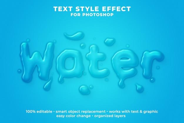 Plantilla psd de efecto de estilo de texto 3d de agua