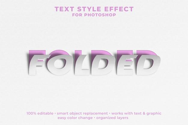 Plantilla psd de efecto de estilo de texto 3d plegado