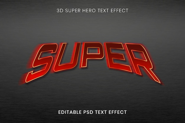 Plantilla psd de efecto de texto 3d, tipografía editable de superhéroe de alta calidad