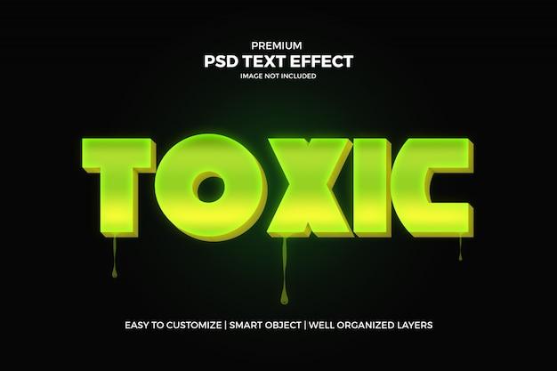 Plantilla psd de efecto de texto 3d verde tóxico