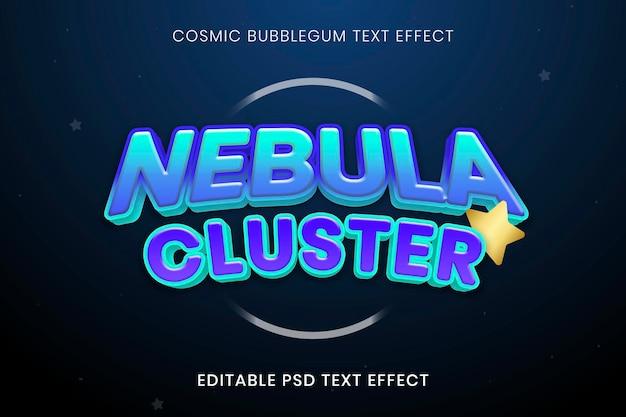 Plantilla psd de efecto de texto cómico, tipografía de fuente bubblegum