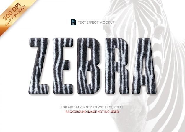 Plantilla de psd de efecto de texto de patrón de animal de piel de rayas de cebra.