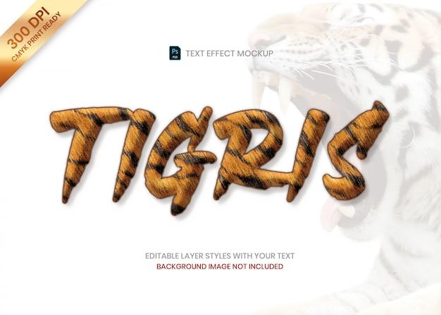 Plantilla de psd de efecto de texto de patrón animal de piel de rayas de tigre.