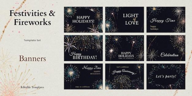 Plantilla psd de fuegos artificiales brillantes con colección de anuncios de texto editable