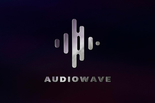 Plantilla de psd de logotipo de empresa de estudio de música en textura de acero