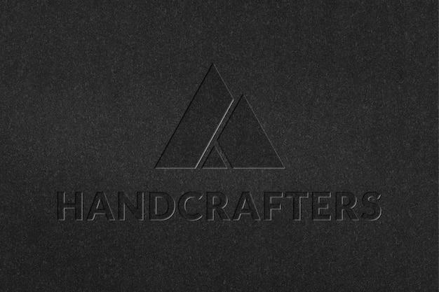 Plantilla psd de logotipo de empresa handcrafters en estilo de papel grabado