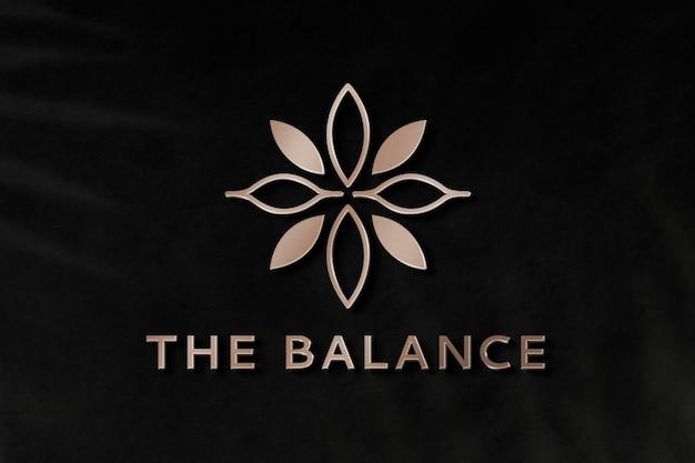 Plantilla de psd de logotipo de empresa de yoga en diseño metálico