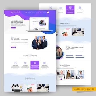Plantilla psd premium de la página de destino de la agencia de diseño ui y ux
