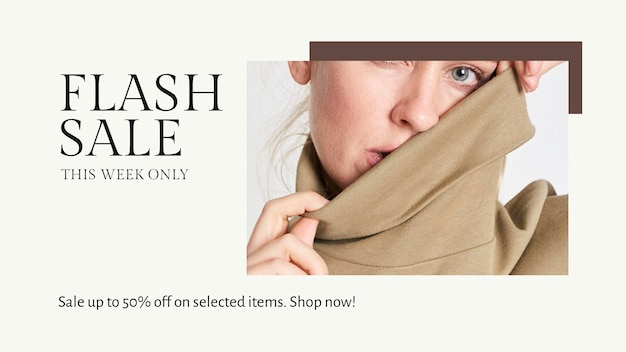 Plantilla psd de venta flash de moda para banner de blog