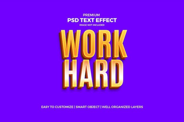 Plantilla psd work hard golden text effect