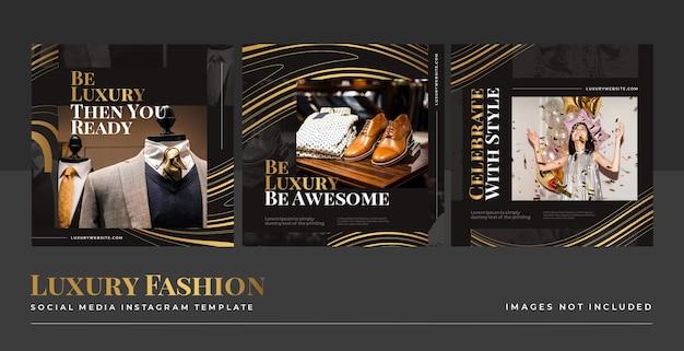 Plantilla de publicación de alimentación de redes sociales de moda dorada de lujo