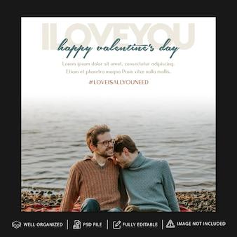 Plantilla de publicación y banner de instagram del día de san valentín