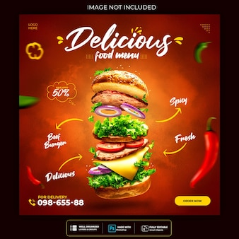 Plantilla de publicación de banner de redes sociales de alimentos