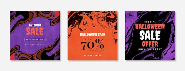 Plantilla de publicación de banner de venta de halloween editable conjunto de banners de redes sociales