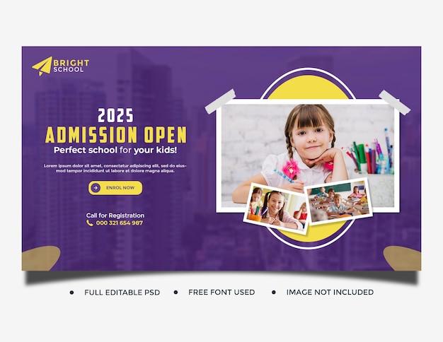 Plantilla de publicación de banner web de admisión de educación escolar para niños